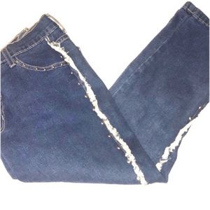 Studs and Fringe Cropped Jeans Size 3